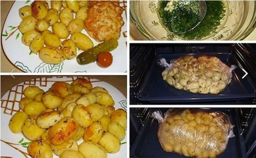 Cartofi la cuptor cu usturoi – sunt foarte gustosti si pot fi serviti oricand
